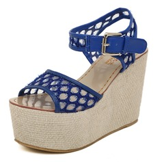 Fabric Wedge Heel Peep Toe Platform Slingbacks Sandals Pumps With Buckle (085025160)
