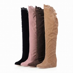 Women's Suede Wedge Heel Platform Over The Knee Boots With Ruched shoes
