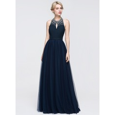 A-Line/Princess Halter Floor-Length Tulle Prom Dress With Ruffle Beading Sequins