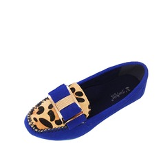 Suede Flat Heel Flats Closed Toe With Bowknot Buckle Animal Print shoes