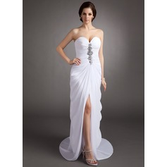 Sheath/Column Sweetheart Sweep Train Chiffon Evening Dress With Ruffle Beading Split Front
