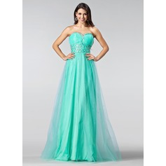 A-Line/Princess Sweetheart Floor-Length Tulle Prom Dress With Ruffle Beading