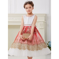 Ball Gown Knee-length Flower Girl Dress - Polyester Sleeveless Scoop Neck With Embroidered/Sash/Rhinestone