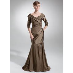 Trumpet/Mermaid Off-the-Shoulder Sweep Train Taffeta Mother of the Bride Dress With Ruffle Beading Appliques Lace