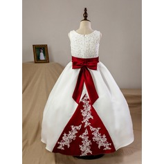 Ball Gown Floor-length Flower Girl Dress - Satin Sleeveless Scoop Neck With Sash/Bow(s) (Petticoat included) (010093741)