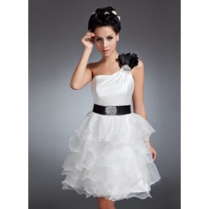 A-Line/Princess One-Shoulder Knee-Length Satin Organza Homecoming Dress With Sash Beading Sequins Cascading Ruffles