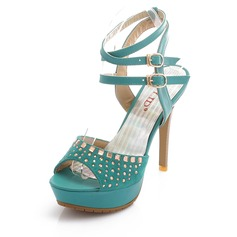 Leatherette Stiletto Heel Peep Toe Platform Slingbacks Sandals With Rhinestone (087026320)