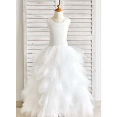 Ball Gown Ankle-length Flower Girl Dress - Tulle/Lace Sleeveless Scoop Neck