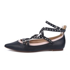Women's Real Leather Flat Heel Flats Closed Toe With Lace-up shoes