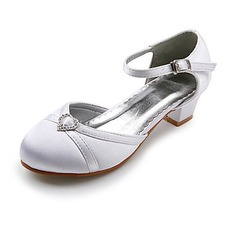 Satin Low Heel Closed Toe Flats Wedding Shoes With Rhinestone (047020913)