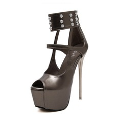 Leatherette Stiletto Heel Sandals Platform Peep Toe shoes