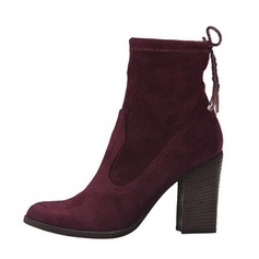 Women's Suede Chunky Heel Ankle Boots With Ribbon Tie shoes