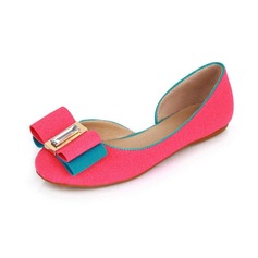 Leatherette Flat Heel Closed Toe Flats With Bowknot (086026220)