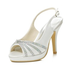 Women's Satin Stiletto Heel Peep Toe Sandals Slingbacks With Buckle Rhinestone