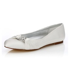 Women's Satin Flat Heel Closed Toe Dyeable Shoes With Rhinestone