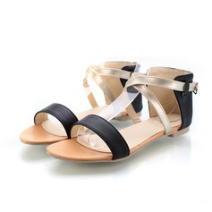 Leatherette Patent Leather Flat Heel Sandals Flats With Buckle (087024940)