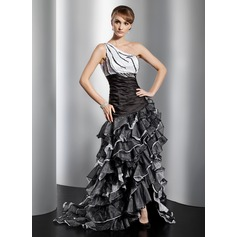 A-Line/Princess One-Shoulder Asymmetrical Organza Prom Dress With Ruffle Beading Cascading Ruffles