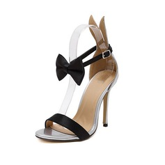 Women's Leatherette Stiletto Heel Sandals Peep Toe With Bowknot Braided Strap shoes