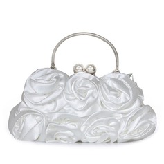 Elegant Silk With Flower Clutches/Top Handle Bags