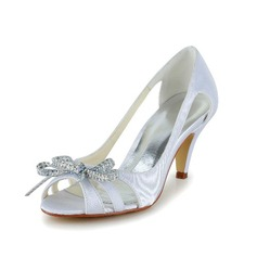 Women's Satin Cone Heel Peep Toe Sandals With Bowknot Rhinestone