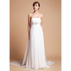 Empire Strapless Watteau Train Chiffon Wedding Dress With Ruffle Beading