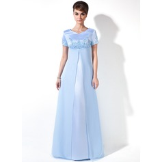 Empire V-neck Floor-Length Chiffon Satin Chiffon Satin Maternity Bridesmaid Dress With Beading