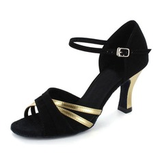 Women's Patent Leather Nubuck Heels Sandals Latin With Ankle Strap Dance Shoes