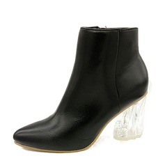 Women's Real Leather Chunky Heel Boots Ankle Boots With Crystal Heel shoes
