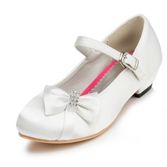 Kids' Satin Low Heel Closed Toe Platform With Bowknot Rhinestone