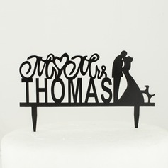 Personalized Letter Mr. & Mrs. Wood Wedding Cake Topper (119065438)