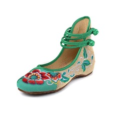 Women's Cloth Flat Heel Flats Closed Toe With Applique Buckle shoes