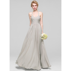 A-Line/Princess Sweetheart Floor-Length Chiffon Bridesmaid Dress With Ruffle (007090153)