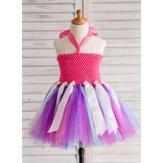 A-Line/Princess Knee-length Flower Girl Dress - Tulle Halter