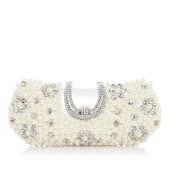 Elegant Satin/Pearl With Rhinestone Clutches
