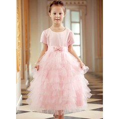 Ball Gown Ankle-length Flower Girl Dress - Polyester Short Sleeves Scoop Neck With Bow(s)