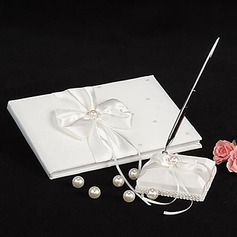 Classic Satin Faux Pearl/Ribbons Guestbook/Pen Set