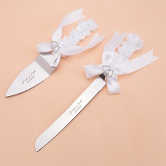 Personalized Double Hearts Stainless Steel Serving Sets With Ribbons