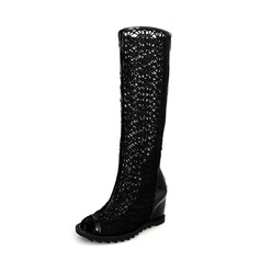 Lace Wedge Heel Mid-Calf Boots With Zipper shoes