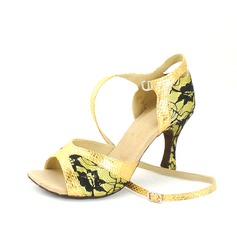 Women's Leatherette Lace Heels Sandals Latin With Ankle Strap Dance Shoes