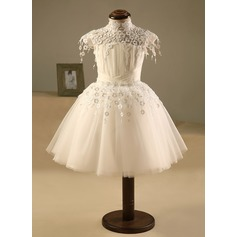 A-Line/Princess Knee-length Flower Girl Dress - Polyester/Cotton Short Sleeves High Neck With Pleated