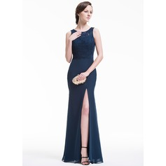 Trumpet/Mermaid Scoop Neck Floor-Length Chiffon Lace Evening Dress With Bow(s) Split Front