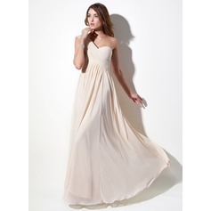 A-Line/Princess One-Shoulder Floor-Length Chiffon Holiday Dress With Ruffle Lace Beading (020016076)
