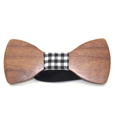 Grid Wood Bow Tie