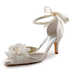Satin Stiletto Heel Sandals Wedding Shoes With Imitation Pearl (047005172)