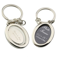 Personalized Oval Zinc Alloy Keychains/Photo Frame