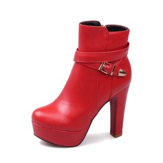 Women's Leatherette Stiletto Heel Boots Ankle Boots With Buckle shoes