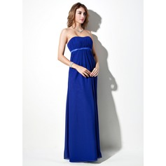 Empire Sweetheart Floor-Length Chiffon Chiffon Maternity Bridesmaid Dress With Sash