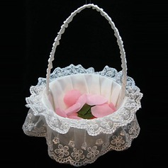 Elegant Flower Basket In White Satin and Lace(102018106)
