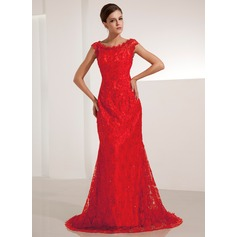 Trumpet/Mermaid Scoop Neck Court Train Lace Evening Dress With Beading Sequins