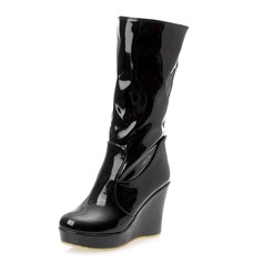 Patent Leather Wedge Heel Mid-Calf Boots shoes